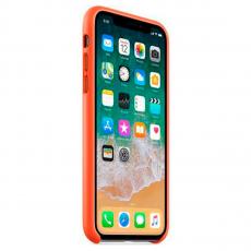 Кожаный чехол Apple для iPhone X, ярко-оранжевый, фото 2