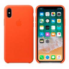 Кожаный чехол Apple для iPhone X, ярко-оранжевый, фото 3
