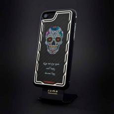 """Эксклюзивный чехол Jumo Case для iPhone 7 и 8, карбон, стальная рамка, принт """"Череп"""", фото 1"""
