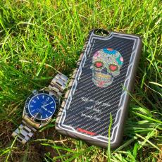 """Эксклюзивный чехол Jumo Case для iPhone 7 и 8, карбон, стальная рамка, принт """"Череп"""", фото 2"""