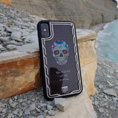 """Эксклюзивный чехол Jumo Case для iPhone X, карбон, стальная рамка, принт """"Череп"""", фото 1"""
