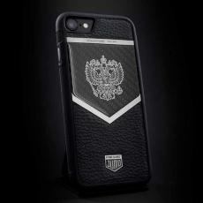 """Эксклюзивный чехол Jumo Case """"Патриот"""" для iPhone 7 и 8, карбон, посеребренный никель, """"Герб РФ"""", фото 1"""