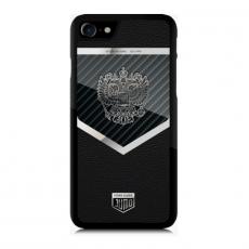 """Эксклюзивный чехол Jumo Case """"Патриот"""" для iPhone 7 и 8, карбон, посеребренный никель, """"Герб РФ"""", фото 2"""