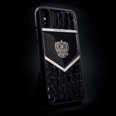 """Эксклюзивный чехол Jumo Case для iPhone X, карбон, кожа крокодила, """"Герб РФ"""" из никеля, фото 1"""