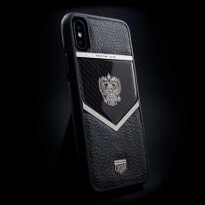 """Эксклюзивный чехол Jumo Case для iPhone X, карбон, кожа Dakota, """"Герб РФ"""" из никеля, фото 1"""