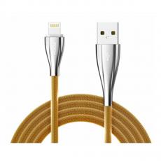 Кабель Rock Metal, с USB-A на Lightning, 1 метр, золотистый, фото 1
