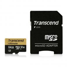 Карта памяти Transcend Ultimate micro SDXC, 64 Гб, Class 10 U3 UHS-I, с адаптером, фото 1