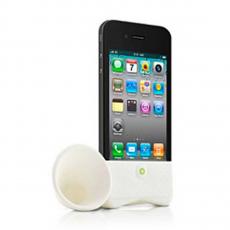 Силиконовая подставка-граммофон Horn Stand для iPhone 4,4S, белая, фото 1