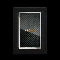 """Обложка для автодокументов Jumo, итальянская кожа, никель с позолотой 24К, """"Audi"""", фото 1"""