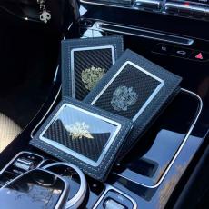"""Обложка для автодокументов Jumo, итальянская кожа, никель с позолотой 24К, """"AMG"""", фото 4"""