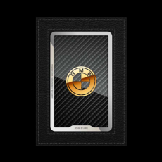 """Обложка для паспорта Jumo, натуральная кожа, никель с позолотой 24K, """"BMW"""", фото 1"""