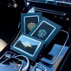 """Обложка для паспорта Jumo, натуральная кожа, никель с позолотой 24K, """"Cadillac"""", фото 2"""