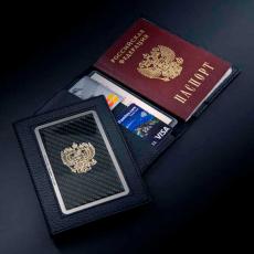 """Обложка для паспорта Jumo, натуральная кожа, никель с позолотой 24K, """"Cadillac"""", фото 3"""