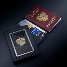 """Обложка для паспорта Jumo Cover из натуральной кожи, никель с позолотой 24К, """"Герб РФ"""", фото 2"""
