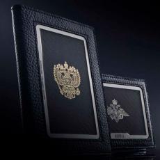 """Обложка для паспорта Jumo Cover из натуральной кожи, никель с позолотой 24К, """"Герб РФ"""", фото 3"""