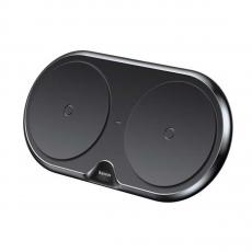 Беспроводное зарядное устройство Baseus Dual Wireless Charger на два устройства, черное, фото 1