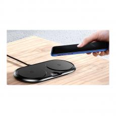 Беспроводное зарядное устройство Baseus Dual Wireless Charger на два устройства, черное, фото 3
