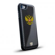 """Чехол Jumo Case для iPhone 8, карбон, высокоточная печать, """"Герб РФ"""", фото 1"""