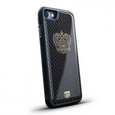 """Чехол Jumo Case для iPhone 7/8, карбон, никель с позолотой 24К, """"Герб РФ"""", фото 1"""
