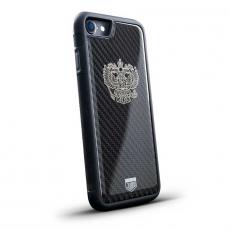 """Чехол Jumo Case для iPhone 8 карбон, никель с посеребрением, """"Герб РФ"""", фото 1"""