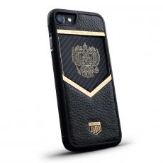 """Чехол Jumo Case для iPhone 7/8 карбон, рамка из латуни, натуральная кожа Dakota, никель с позолотой 24К, """"Герб РФ"""", фото 1"""