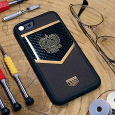 """Чехол Jumo Case для iPhone 7/8 карбон, рамка из латуни, натуральная кожа Dakota, никель с позолотой 24К, """"Герб РФ"""", фото 2"""
