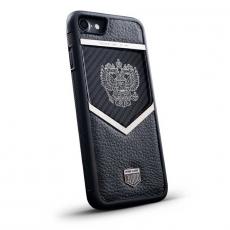 """Чехол Jumo Case для iPhone 7/8 карбон, стальная рамка, натуральная кожа Dakota, никель с посеребрением, """"Герб РФ"""", фото 1"""