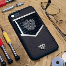 """Чехол Jumo Case для iPhone 7/8 карбон, стальная рамка, натуральная кожа Dakota, никель с посеребрением, """"Герб РФ"""", фото 2"""