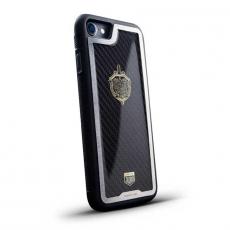"""Чехол Jumo Case для iPhone 7/8 карбон, стальная рамка, никель с позолотой 24К, """"Герб ФСБ"""", фото 1"""