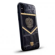 """Чехол Jumo Case для iPhone X карбон, рамка из латуни, кожа крокодила, никель с позолотой 24К, """"Герб РФ"""", фото 1"""