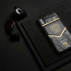 """Чехол Jumo Case для iPhone X карбон, рамка из латуни, кожа крокодила, никель с позолотой 24К, """"Герб РФ"""", фото 2"""