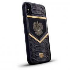 """Чехол Jumo Case для iPhone X карбон, рамка из латуни, натуральная кожа питона, никель с позолотой 24К, """"Герб РФ"""", фото 1"""