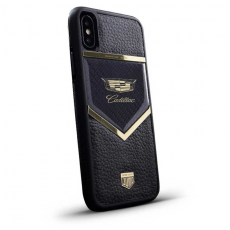 """Чехол Jumo Case для iPhone X карбон, рамка из латуни, натуральная кожа Dakota, никель с позолотой 24К, """"Cadillac"""", фото 1"""