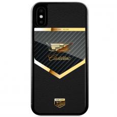 """Чехол Jumo Case для iPhone X карбон, рамка из латуни, натуральная кожа Dakota, никель с позолотой 24К, """"Cadillac"""", фото 2"""