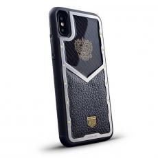 """Чехол Jumo Case для iPhone X карбон, стальная рамка, кожа Dakota, никель с позолотой 24К, """"Герб РФ"""", фото 1"""