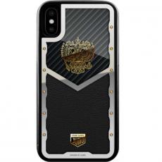 """Чехол Jumo Case для iPhone X карбон, стальная рамка, кожа Dakota, никель с позолотой 24К, """"Герб РФ"""", фото 2"""