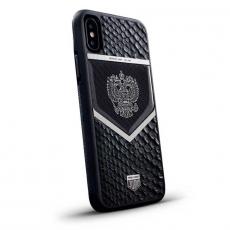 """Чехол Jumo Case для iPhone X карбон, стальная рамка, натуральная кожа питона, никель с посеребрением, """"Герб РФ"""", фото 1"""