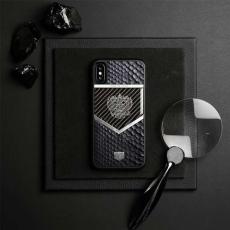 """Чехол Jumo Case для iPhone X карбон, стальная рамка, натуральная кожа питона, никель с посеребрением, """"Герб РФ"""", фото 2"""