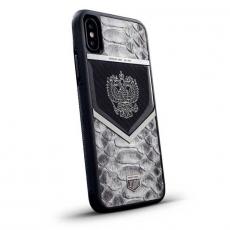 """Чехол Jumo Case для iPhone X карбон, стальная рамка, натуральная кожа питона, никель с посеребрением, белый """"Герб РФ"""", фото 1"""