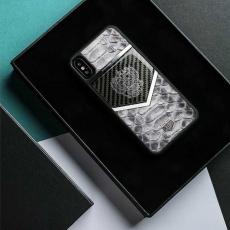 """Чехол Jumo Case для iPhone X карбон, стальная рамка, натуральная кожа питона, никель с посеребрением, белый """"Герб РФ"""", фото 2"""