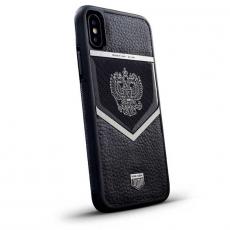 """Чехол Jumo Case для iPhone X карбон, стальная рамка, натуральная кожа Dakota, никель с посеребрением, """"Герб РФ"""", фото 1"""