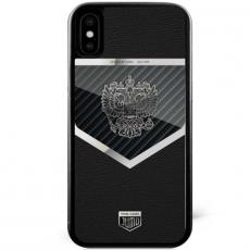 """Чехол Jumo Case для iPhone X карбон, стальная рамка, натуральная кожа Dakota, никель с посеребрением, """"Герб РФ"""", фото 2"""