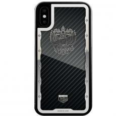 """Чехол Jumo Case для iPhone X карбон, стальная рамка и болты, никель с посеребрением, """"Герб РФ"""", фото 1"""