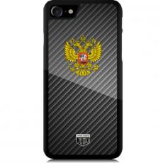 """Чехол Jumo Case для iPhone 8 Plus, карбон, высокоточная печать, """"Герб РФ"""", фото 1"""