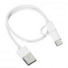 Кабель Mi 2-in-1 USB Cable Micro USB to Type C, 30 см, белый, фото 2