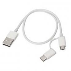 Кабель Mi 2-in-1 USB Cable Micro USB to Type C, 30 см, белый, фото 1