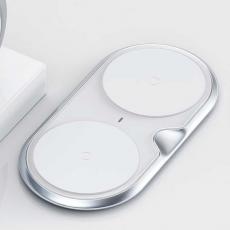Беспроводное зарядное устройство Baseus Dual Wireless Charger на два устройства, серебристый WXXHJ-A0S, фото 3