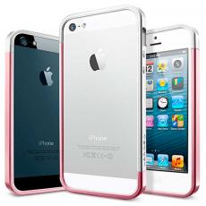 Бампер Spigen Linear EX Metal Blue для iPhone 5, 5S и SE, розовый (копия), фото 2