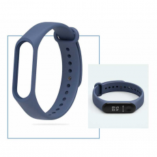 Ремешок силиконовый для фитнес трекера Xiaomi Mi Band 3, оригинал, темно-синий, фото 2
