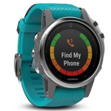 Умные часы Garmin Fenix 5S с GPS, серебристые с бирюзовым ремешком, фото 1
